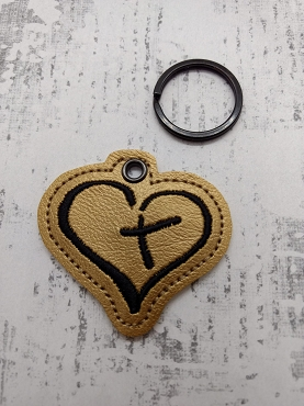 Heart with Cross Zipper Pull Embroidery Design